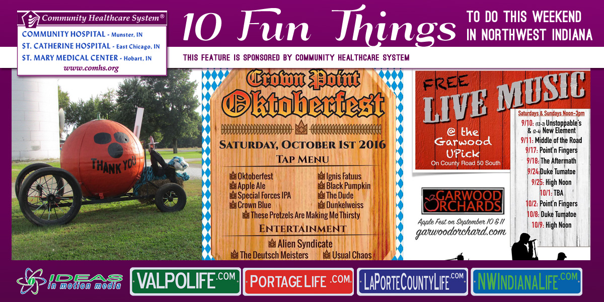 10 Fun Things to Do this Weekend in Northwest Indiana: September 30 – October 2, 2016