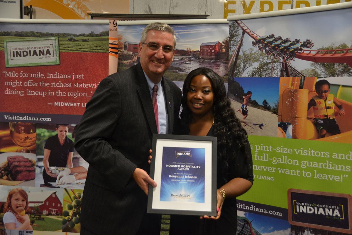 Holcomb Presents Kenyanna Johnson with Hoosier Hospitality Award