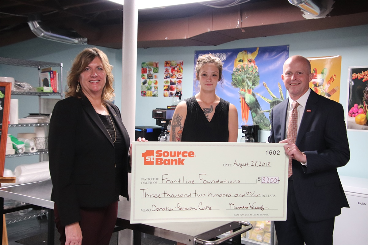 1st Source Bank Donates $3,200 to Frontline Foundations for New Cafe Supercharge