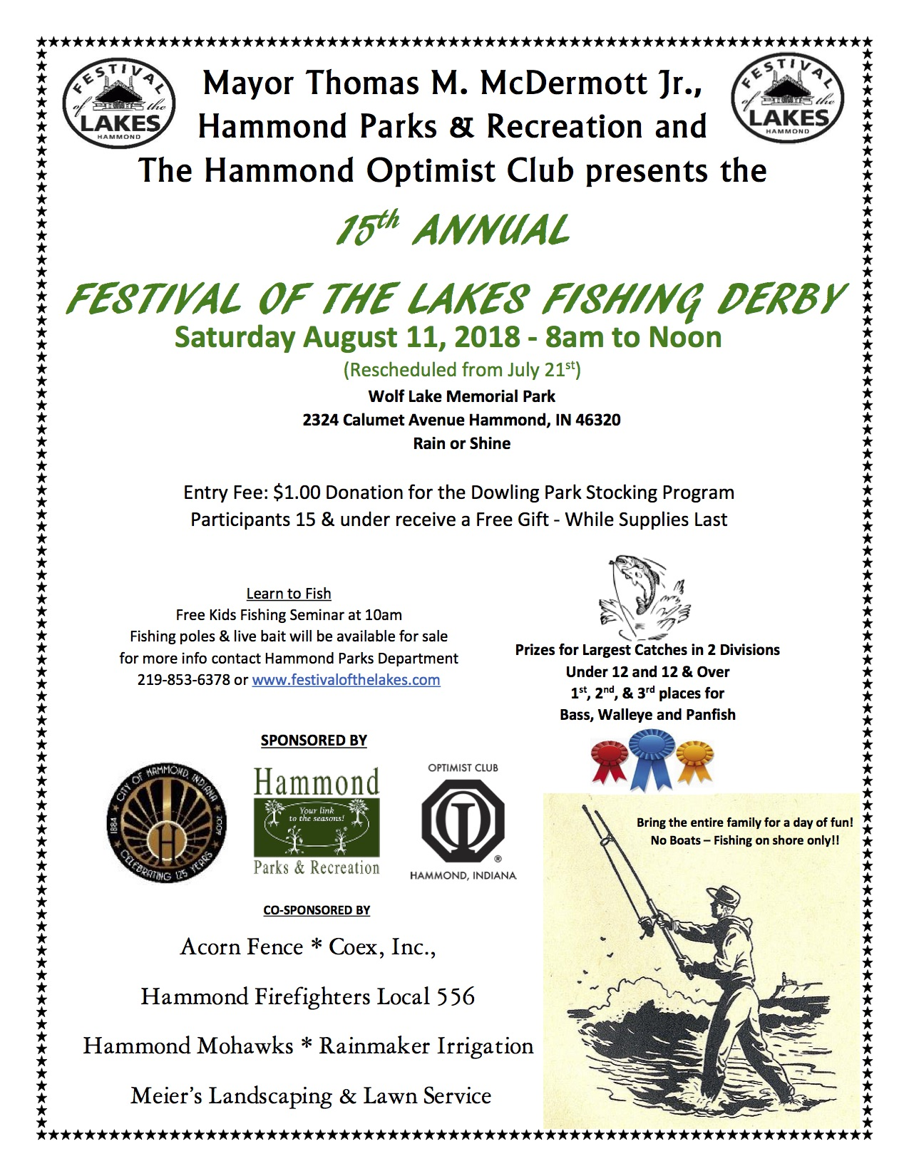 City of Hammond Announces Date of Rescheduled Festival of the Lakes Fishing Derby