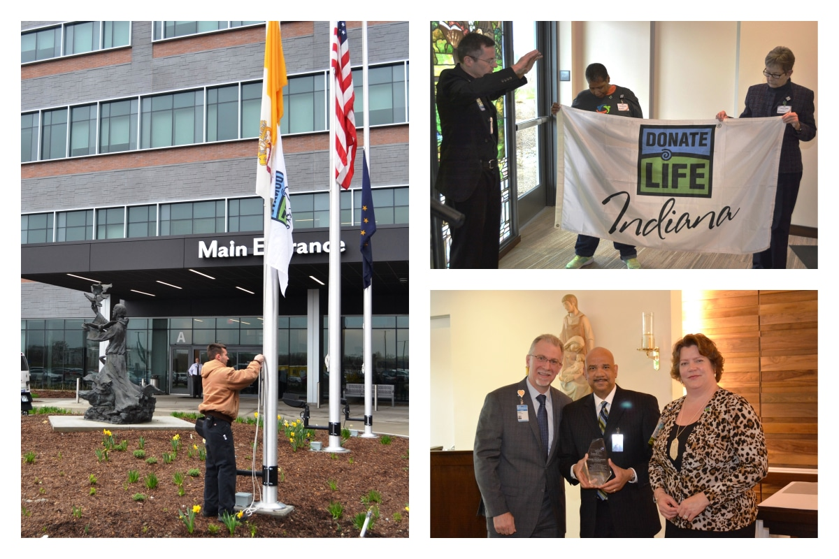 Franciscan Health Michigan City raises flag for organ donation during Donate Life Month remembrance celebration