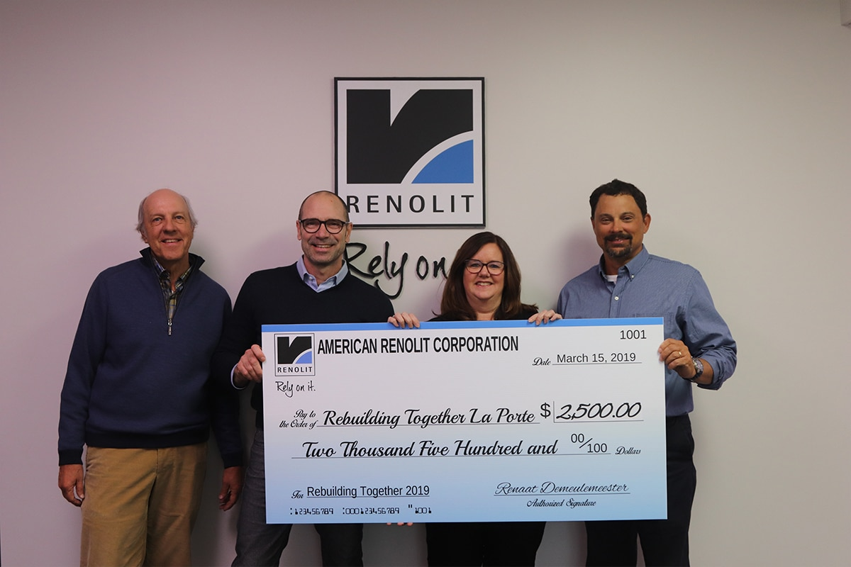 American Renolit gifts $2,500 check to Rebuilding Together LaPorte County