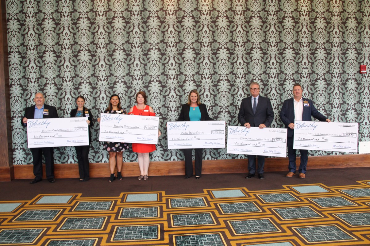Blue Chip Casino Awards $26,000 to 5 Organizations Who Aid Veterans with PTSD