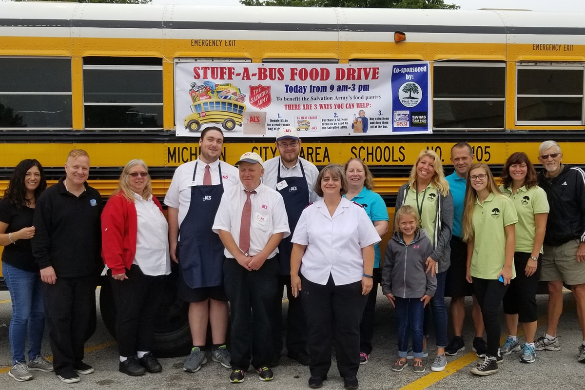 First Trust Credit Union Serves Michigan City Salvation Army in Stuff-A-Bus Event