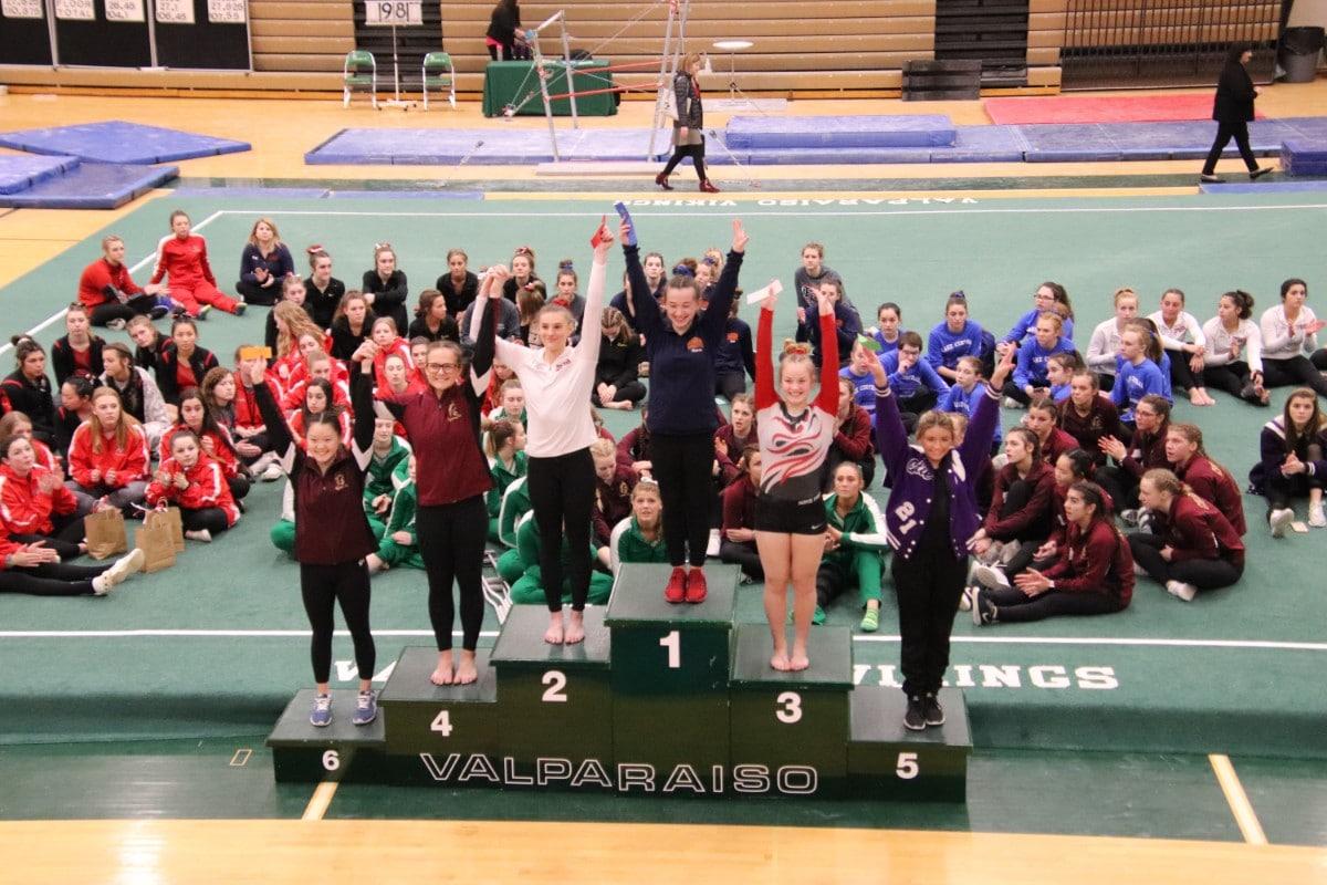 Gymnasts Show off Their Balance at IHSAA Regional Girls Gymnastic Championship