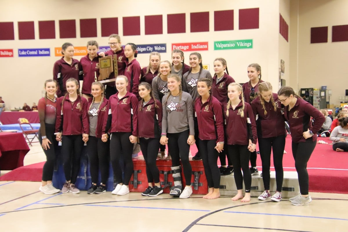 High School Gymnasts Support and Encourage Teammates at IHSAA Annual Girls Gymnastics Sectionals