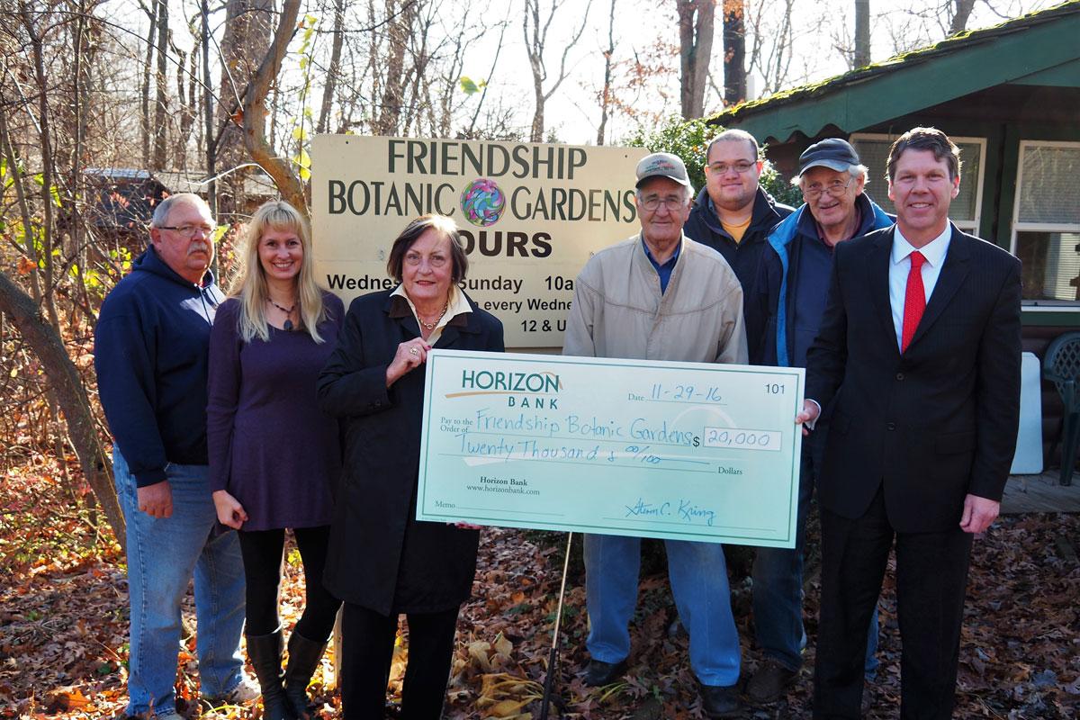 Horizon Bank Awards Donation to Friendship Botanic Gardens