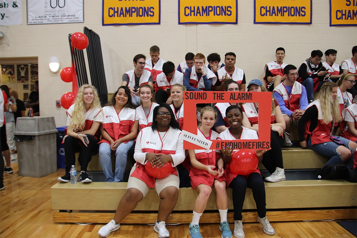 United Way of La Porte County, Marquette Catholic High School Sound the Alarm with Local Red Cross and Fire Department