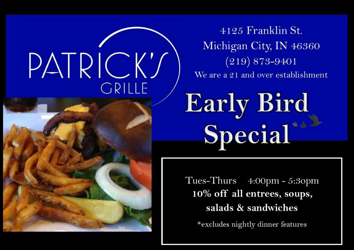 Patrick's Grille Now Offering Early Evening Discount!