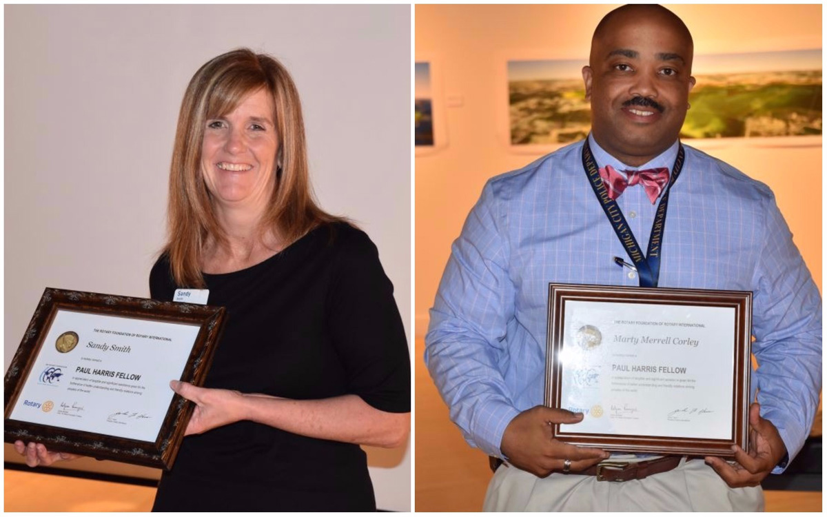 Michigan City Rotary Club Honors Sandy Smith,  Marty Corley with Paul Harris Fellow Awards